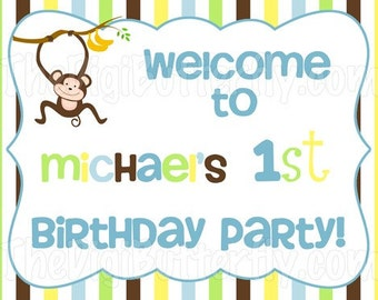 Monkey Boy Party - Personalized Welcome Sign - DIY Party Printables - Digital Download and Print