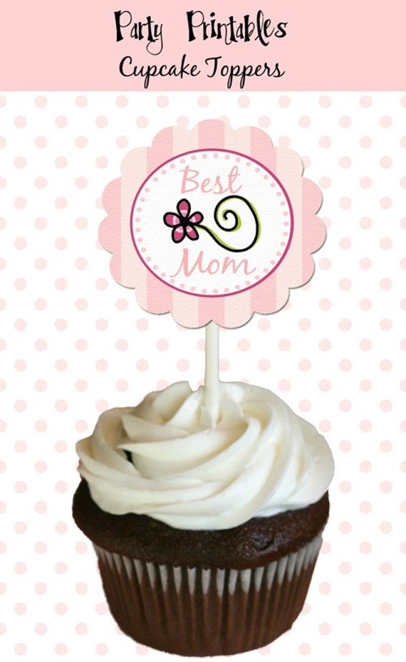 """Moms Day Party - Cupcake Toppers, 2"""" Party Circles - DIY Party Printables - INSTANT Download and Print"""