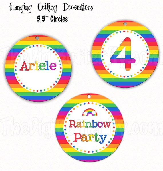 """Rainbow Party - Personalized 3.5"""" Hanging Ceiling Circles - DIY Party Printables - Digital Download and Print"""