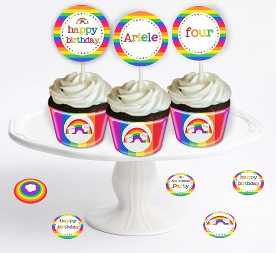 "Rainbow Party -Table Confetti 1"" Party Circles - DIY Party Printables - INSTANT DOWNLOAD and Print"