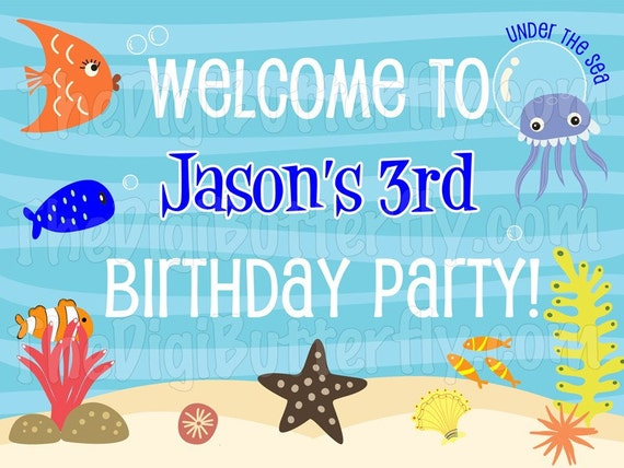 Under The Sea Party - Personalized Welcome Sign - DIY Party Printables - Digital Download and Print