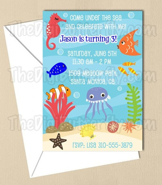 Under The Sea Party - CUSTOM Birthday Party Invitation - DIY Party Printables - Digital Download and Print
