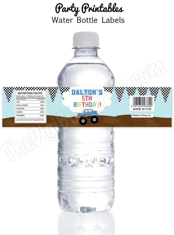 Monster Truck Party - Personalized Water Bottle Labels - DIY Party Printables - Digital Download and Print