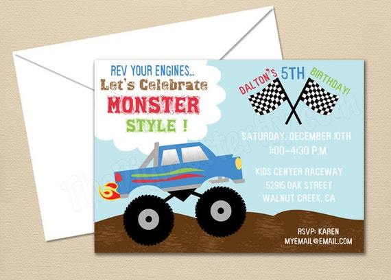 Monster Truck Party - CUSTOM Birthday Party Invitation - DIY Party Printables - Digital Download and Print