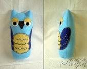 "Felt Owl - Turquoise Blue - felt doll - hand embroidered - 8.5"" tall"