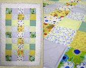 Baby Boy Quilt  Blanket - Blue cotton