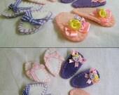 Happy Hair Clips - Handmade embroidery