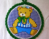 wall art for kids. Teddy Bear - Fabric Pictures in a Crochet frame for Children's room - Green cotton yarn