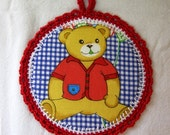 Teddy Bear Wall art for kids - Fabric Pictures in a Crochet frame for Children's room - Red cotton yarn
