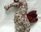 Seahorse - bordeaux and white flowered stuffed animal