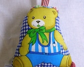 Tags Toy for Baby - Bell inside - Cotton Fabric - Teddy Bear Print