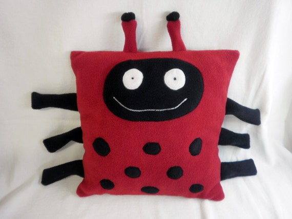 PILLOW HUGS - Ladybug Pillow cover, Pillow insert included, Red and Black Fleece