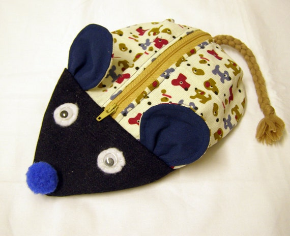 Zipper Pencil Case - Mouse Bag - Puppies print fabric and Jeans - Back to School
