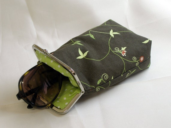 Sunglass Case - Brown and Green cotton - Silver Frame