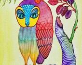 Pretty Owl - Original Watercolor Painting