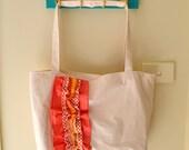 Coral Combo Ruffled Love Tote Bag