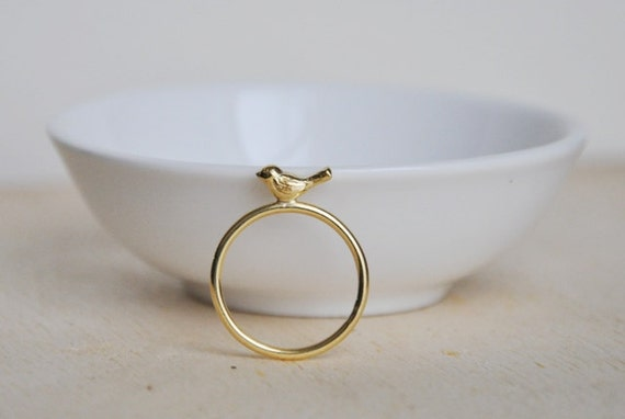 Bird ring 18K gold plated (vermeil) over sterling silver