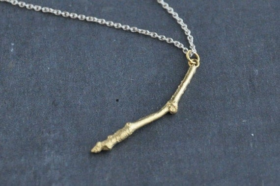 Twig necklace goldplated and silver