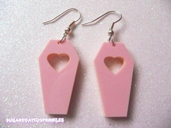 Pastel coffin earrings