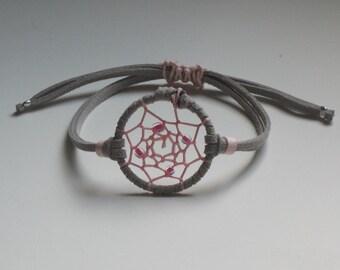 Gray and pink dream catcher bracelet