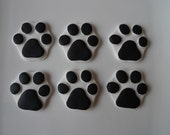 24 Edible Dog Paw Print Cupcake toppers - White & Black / Custom color