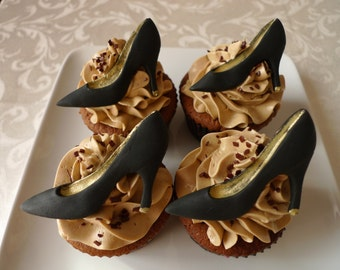 24 Edible Fashion Stiletto Heels Christian Louboutin style - Black & Gold with Red bottom cupcake toppers