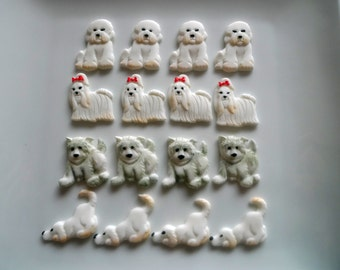 24 Edible Dog Lovers Cupcake toppers - Choice of Dog breed with details