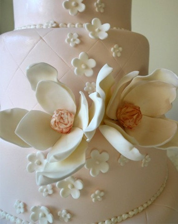 edible sugar flowers for wedding cakes 2 items similar to 2 edible sugar magnolia flower lg 3830