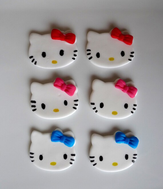 6 Edible Hello Kitty Cupcake toppers - CUSTOM for Maribel ONLY