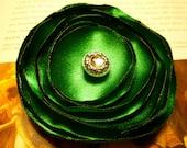 Emerald Green Fabric Flower Pin - Emerald Green Satin Flower Brooch