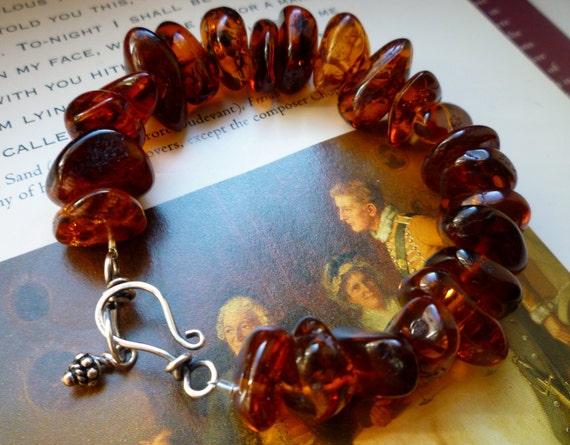 Amber Bracelet, Large Amber Beaded Sterling Silver Bracelet