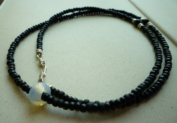Moonstone & Black Seed Bead Necklace Long Black by EclecticHue