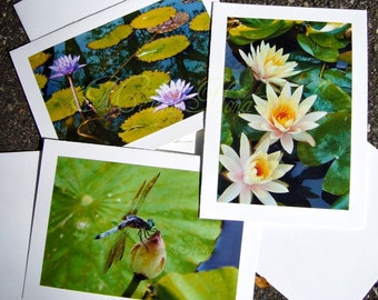 Dragonfly and Water Lily Note Cards - Zen Set of 3, Handmade Photo Art Cards, Peace, Earth Day, Green