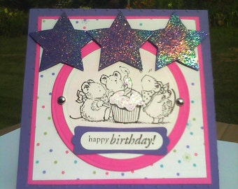 Handmade Stamped  Birthday Easel Greeting Card Child