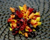 Large and Full Fall  Korker Hair Bow - Mini Korker Sets Available! Made with rich fall colors in Red, Gold, Orange, and Brown