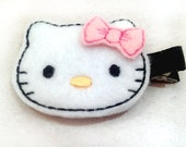 White Kitty Hair Clip with Pink Bow for Baby or Toddler