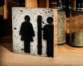 Bamboo Block, girl, boy, twins, bathroom, living room, wall art, print, wood, photography, stick figure, original, side,