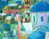 Santorini Painting, Original Art in Colourful Acrylics on Canvas