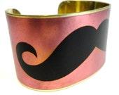 Moustache Cuff Bracelet Pink Black Vintage Style