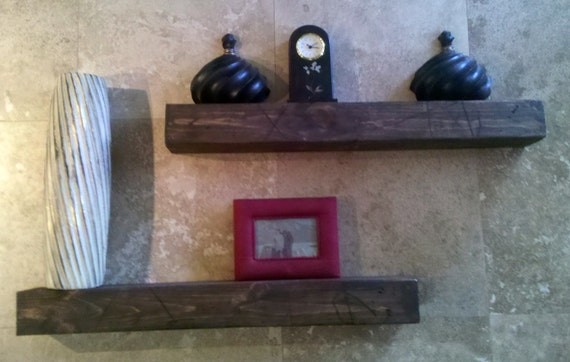 Rustic floating shelves     Matched pair 32""