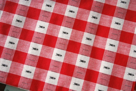 Ants on Red White Check Picnic Tablecloth Fabric Gingham