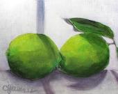 Limes on the Windowsill - original 5 x 7 still life