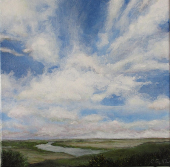 Original Landscape Painting - Windy Landscape - big sky clouds river