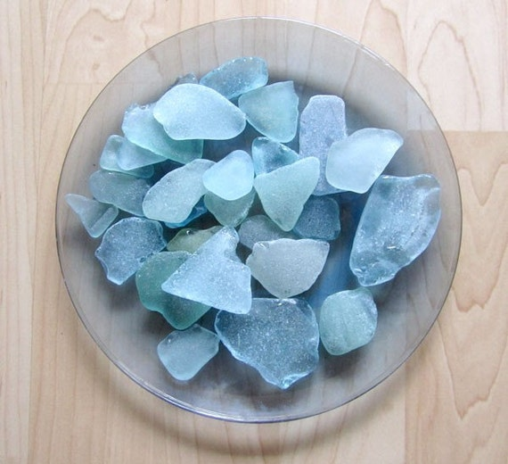 Authentic Hand-Picked Sea/Beach Glass Aqua Blue/White - Not Tumbled! - 15 piece selection.       FREE SHIPPING!