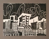 Geometric Cityscape - 9 x 12 - Black and White Woodblock Print