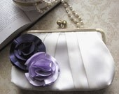 Ivory Bridal Clutch Purse with Purple and Lavender Flower Duo Adornments- Custom