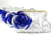 Gray Damask Clutch Purse with Royal Blue Flower- Custom