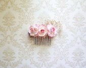 Romantic Bridal, Bridesmaid, and Flower Girl Hair Comb- Pink Roses