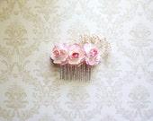 Romantische Hochzeitssuite, Brautjungfern und Blumenmädchen Haar Kamm - rosa Rosen