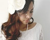 Vintage Inspired Birdcage Veil with Flower and Pearls Adornment
